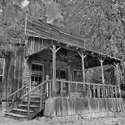 Wooden Storefront Shack - Golden, Oregon - HDR - Infrared Black & White
