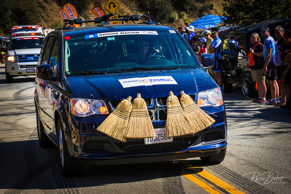 Sweeper car at the Amgen Tour of California, Santa Monica Mountains, California USA