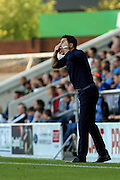 Chesterfield FC manager Dean Saunders shouts orders at his players during the Sky Bet League 1 match between Chesterfield and Burton Albion at the Proact stadium, Chesterfield, England on 26 September 2015. Photo by Aaron Lupton.