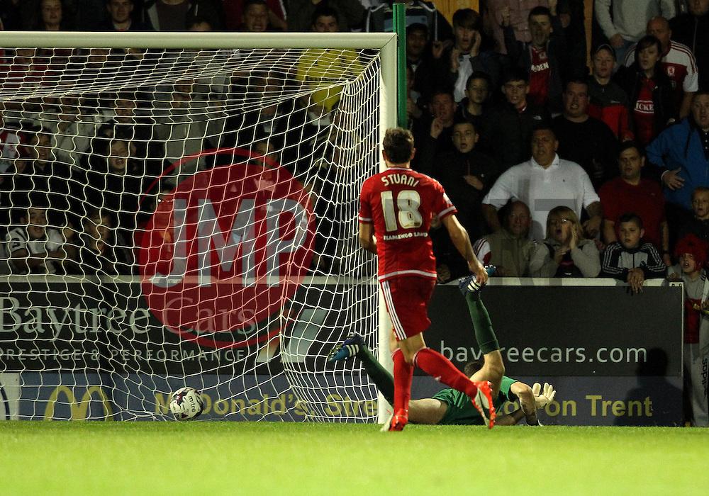 Christian Stuani of Middlesbrough scores - Mandatory byline: Robbie Stephenson/JMP - 07966386802 - 25/08/2015 - FOOTBALL - Pirelli Stadium -Burton,England - Burton Albion v Middlesbrough - Capital One Cup - Second Round