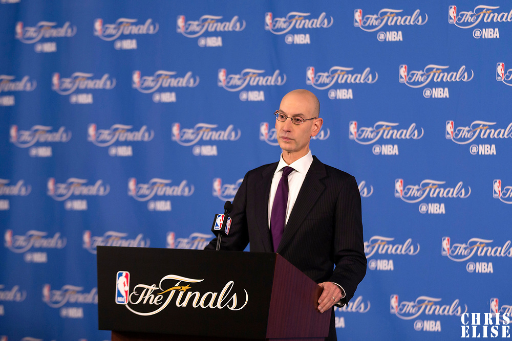 01 June 2017: NBA Commissioner Adam Silver is seen during a press conference prior to the Golden State Warriors 113-90 victory over the Cleveland Cavaliers, in game 1 of the 2017 NBA Finals, at the Oracle Arena, Oakland, California, USA.