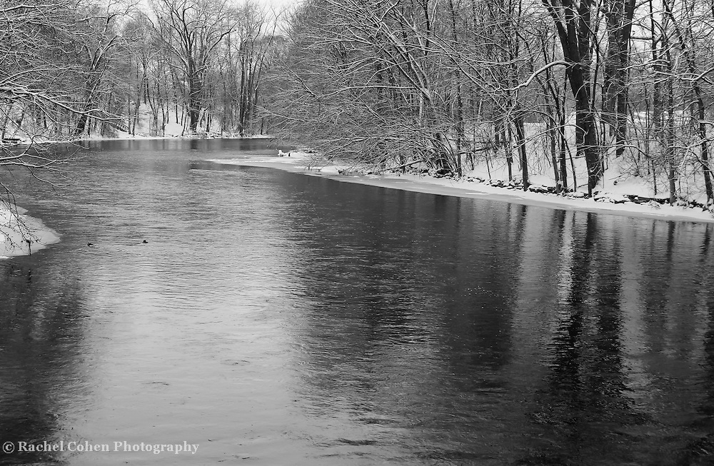&quot;Riverside Park Reflections&quot;<br /> <br /> Enter into a peaceful and tranquil state with this lovely winter scene along the Huron River! A quiet morning snowfall in Michigan!