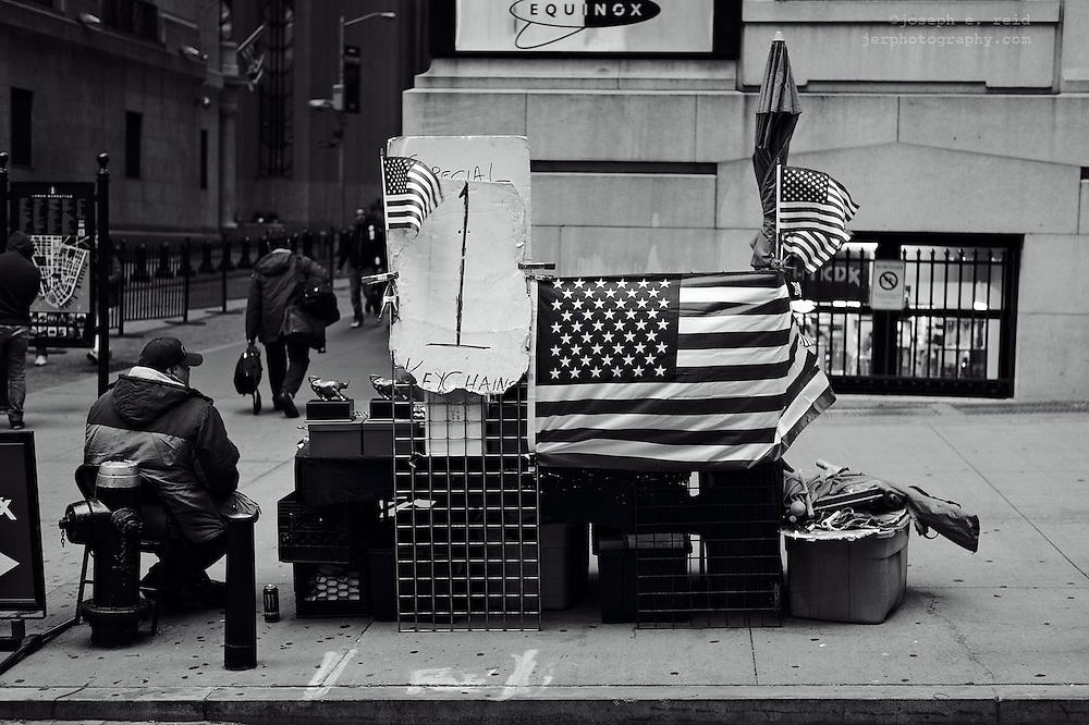 Souvenir vendor on Wall Street, New York, NY, US