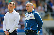 Kevin Sinfield (Director of Rugby) (L) and James Lowes (R)(Coach) of Leeds Rhinos during the Betfred Super 8s Qualifiers match at Emerald Headingley Stadium, Leeds<br /> Picture by Stephen Gaunt/Focus Images Ltd +447904 833202<br /> 11/08/2018