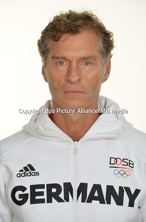 Peter Gräschus poses at a photocall during the preparations for the Olympic Games in Rio at the Emmich Cambrai Barracks in Hanover, Germany. July 27, 2016. Photo credit: Frank May/ picture alliance.   usage worldwide