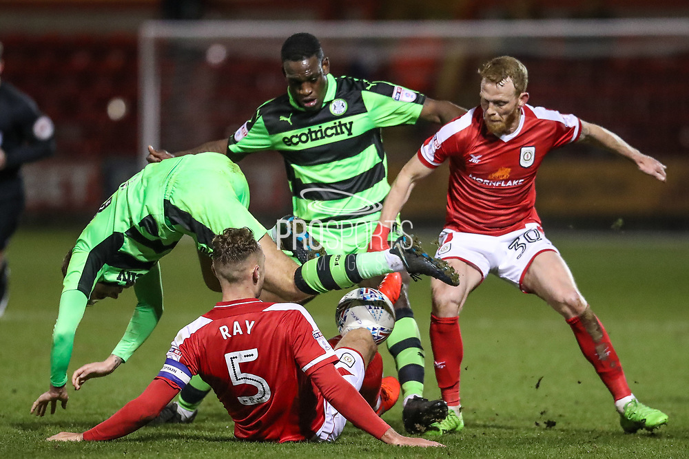 Forest Green Rovers Charlie Cooper(15) and Forest Green Rovers Isaiah Osbourne(34) attempt to get the ball during the EFL Sky Bet League 2 match between Crewe Alexandra and Forest Green Rovers at Alexandra Stadium, Crewe, England on 20 March 2018. Picture by Shane Healey.