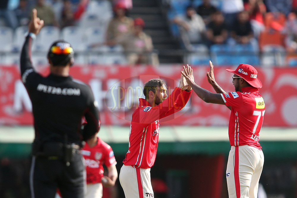 Kings XI Punjab captain Glenn Maxwell is congratulated by Varun Aaron of Kings XI Punjab for getting Rishabh Pant of the Delhi Daredevils wicket during match 36 of the Vivo 2017 Indian Premier League between the Kings XI Punjab and the Delhi Daredevils held at the Punjab Cricket Association IS Bindra Stadium in Mohali, India on the 30th April 2017<br /> <br /> Photo by Shaun Roy - Sportzpics - IPL