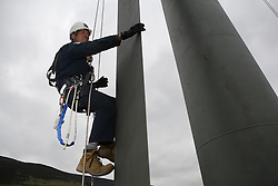 UK ENGLAND GREENFIELD 21MAR12 - Abseiling and inspection of wind turbine blade training at Capital Safety training facility in Greenfield, Greater Manchester...jre/Photo by Jiri Rezac..© Jiri Rezac 2012