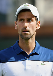 March 11, 2018 - Indian Wells, CA, U.S. - INDIAN WELLS, CA - MARCH 11: Novak Djokovic (SRB) on the court in the second set of a match played at the BNP Paribas Open on March 11, 2018 at the Indian Wells Tennis Garden in Indian Wells, CA. (Photo by John Cordes/Icon Sportswire) (Credit Image: © John Cordes/Icon SMI via ZUMA Press)