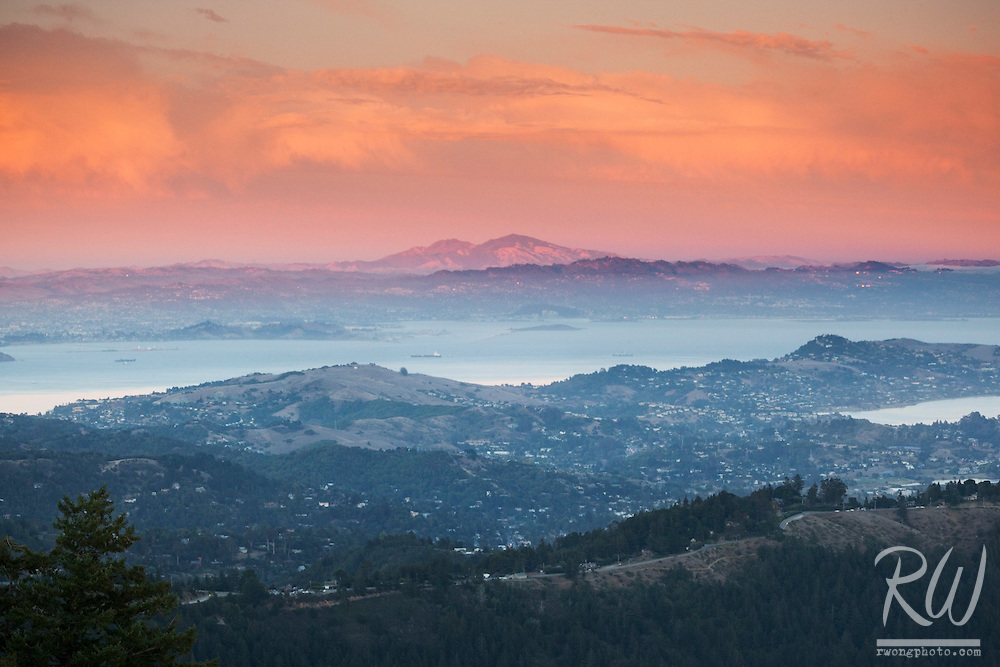 Scenic Vista of San Francisco Bay With Mount Diablo Looming in Background, Mount Tamalpais State Park, California
