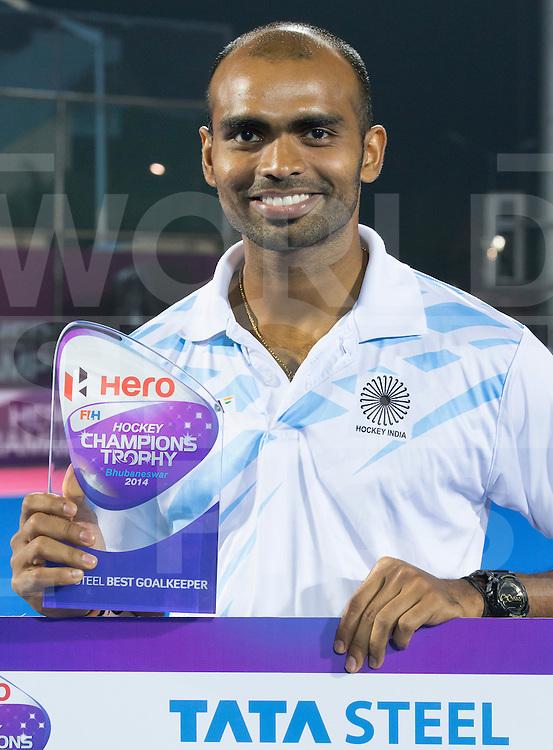 BHUBANESWAR (India) -  Hero Champions Trophy hockey men. Final between Germany and Pakistan. . Germany wins the Trophy (2-0). Best goalkeeper keeper Sreejesh Parattu of India. Photo Koen Suyk