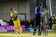 Pat Cummins of Australia (left) celebrates taking the wicket of Alex Hales of England (right) during the 3rd One Day International match at Old Trafford Cricket Ground, Stretford<br /> Picture by Andy Kearns/Focus Images Ltd 0781 864 4264<br /> 08/09/2015