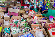 Donated supplies given to displaced villagers after a powerful  7.5 earthquake magnitude struck off the coast of Donggala (epicentre) Central Sulawesi, Indonesia on Sept. 28th causing a tsunami and destroying many homes.