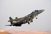 Israeli Air force Fighter jet F15I on the runway at take off