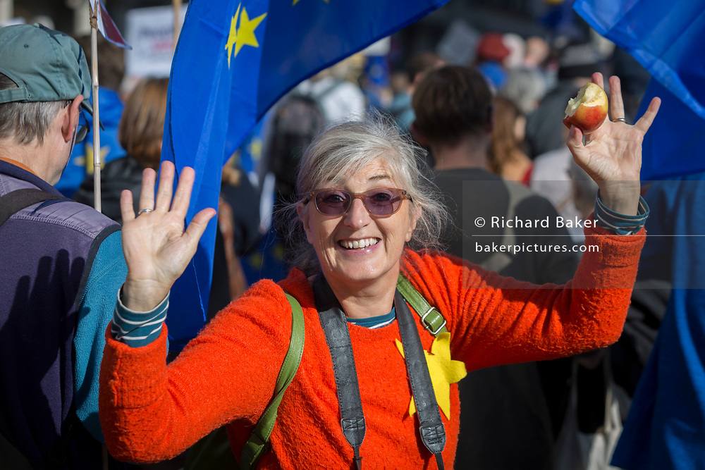 On the day that Members of Parliament sat on a Saturday (the first time in 37 years and dubbed 'Super Saturday') in order to vote for Prime Minister Boris Johnson's Brexit deal with the EU in Brussels, a million Remainers (according to organisers) marched through the capital to voice their opposition to a Brexit and calling for a peoples' Vote, on 19th October 2019, in London, England.