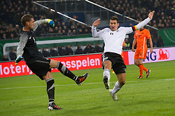 15.11.2011, Imtech Arena, Hamburg, GER, FSP, Deutschland (GER) vs Holland (NED), im Bild Miroslav Klose (GER #11 Rom) gegen Maarten Stekelenburg (NED #01 AS Roma)  // during the Match Gemany (GER) vs Netherland (NED) on 2011/11/15,  Imtech Arena, Hamburg, Germany. EXPA Pictures © 2011, PhotoCredit: EXPA/ nph/ Kokenge..***** ATTENTION - OUT OF GER, CRO *****