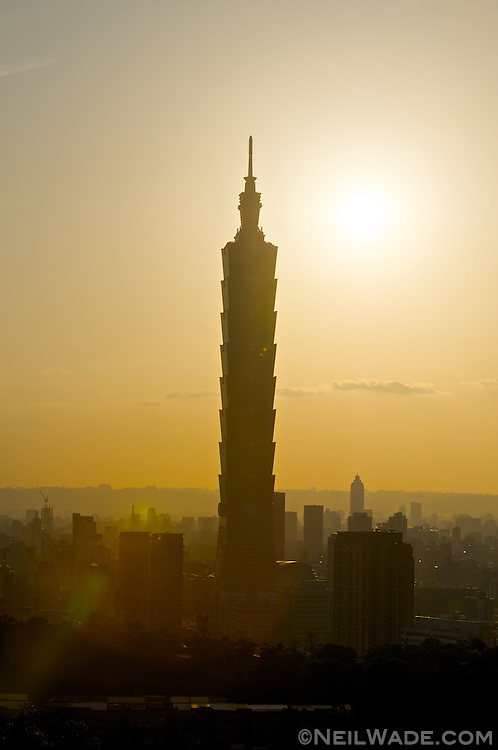Taipei 101 and Taipei City as seen from Tiger mountain in Taiwan.