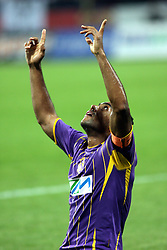 Marcos Magno Morales Tavares of Maribor celebrates during the UEFA Europa League play-offs second leg match between NK Maribor and US Citta di Palermo at Ljudski vrt Stadium on August 26, 2010 in Maribor, Slovenia. Maribor defeated Palermo 3-2 but Palermo won in total 5-3 and qualified for Europa league. (Photo by Marjan Kelner / Sportida)