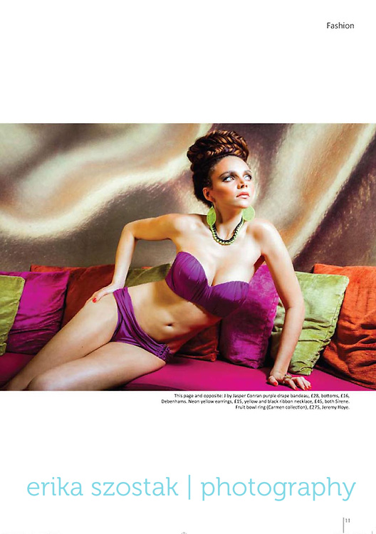 Editorial for Absolute Brighton magazine, July 2013.<br /> Photography: Erika Szostak<br /> Styling: Kate Morton<br /> Hair: Gary Forde<br /> MUA: Alessia Mancini<br /> Model: Amy Lynch<br /> Location: myhotel Brighton<br /> Shoot assistant: Iszara Morgan