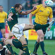Fourie Du Preez, South Africa, in action during the South Africa V Australia Quarter Final match at the IRB Rugby World Cup tournament. Wellington Regional Stadium, Wellington, New Zealand, 9th October 2011. Photo Tim Clayton...