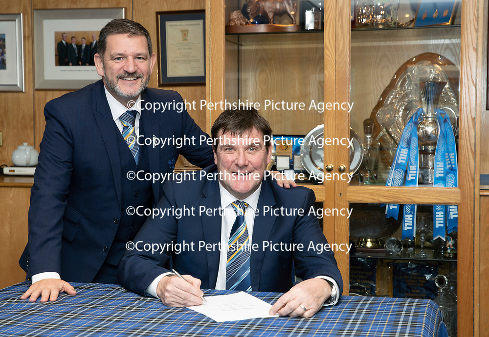 St Johnstone manager Tommy Wright pictured in the boardroom at McDiarmid Park this afternoon with Chairman Steve Brown after siging a three year contract extension….07.12.18<br />Picture by Graeme Hart.<br />Copyright Perthshire Picture Agency<br />Tel: 01738 623350  Mobile: 07990 594431