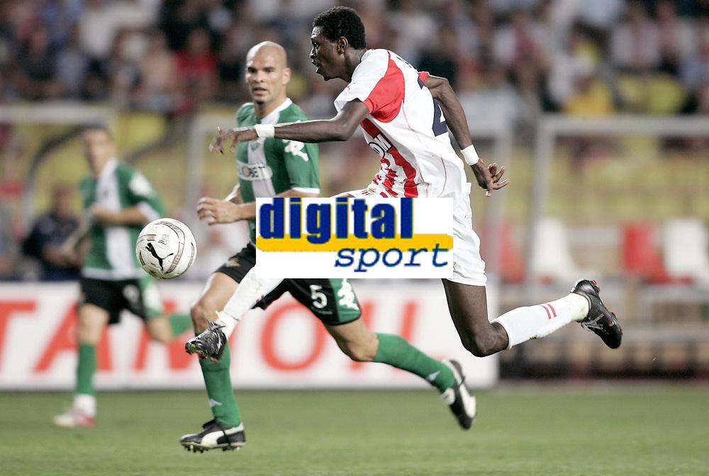 Fotball<br /> Foto: Dppi/Digitalsport<br /> NORWAY ONLY<br /> <br /> CHAMPIONS LEAGUE 2005/2006 - PRELIMINARY ROUND - 2ND LEG - AS MONACO v BETIS SEVILLA - 23/08/2005 - EMMANUEL ADEBAYOR (MON) / DAVID RIVAS (BET)