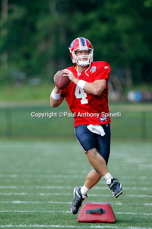 NFL Buffalo Bills quarterback Brian Brohm (4) runs a drill while looking to throw a pass during training camp at St. John Fisher College on August 5, 2010 in Pittsford, New York. (©Paul Anthony Spinelli)