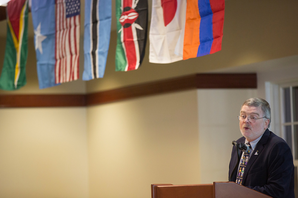 Dr. Thom Luce, a professor in the Management Information Systems Department of the College of Business, accepts the Certificate of Appreciation during The Global Engagement Awards Gala for International Education Week on November 16, 2016.