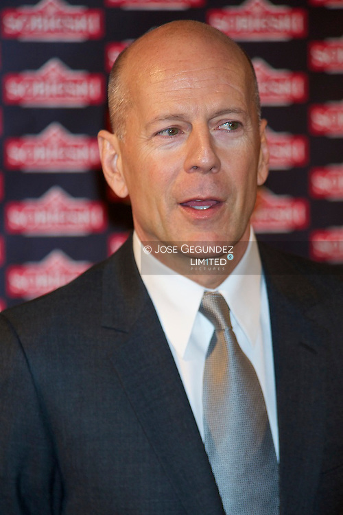 Bruce Willis attends a photocall as an advertising image of the  Sobiesky Vodka at Ritz Hotel in Madrid