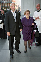 06 October 2011. New Orleans, Louisiana, USA.  <br /> Mayor Mitch Landrieu and former US ambassador Lindy Boggs leaving the funeral of  Archbishop Philip Hannan at St Louis cathedral in Jackson Square. Archbishop Philip Matthew Hannan (May 20th, 1913 - Sept 29th, 2011). Archbishop Hannan was a decorated WWII army chaplain and served as a  member of the Vatican II Council Fathers under Pope Pius XII. The industrious and well respected Archbishop Hannan was a personal confidant of President John F Kennedy, delivering the eulogy at the assassinated President's funeral.<br /> Photos; Charlie Varley