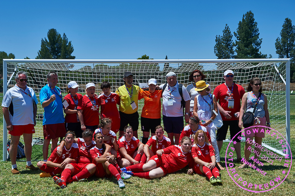 SO Poland team football women match 7-a-side with supporters Janusz Wesolowski and Tadeusz Tomaszewski and Jaroslaw Duda and Katarzyna Frank Niemczycka and Joanna Wrona during fourth day of the Special Olympics World Games Los Angeles 2015 on July 28, 2015 at Balboa Sports Centre in Los Angeles, USA.<br /> USA, Los Angeles, July 28, 2015<br /> <br /> Picture also available in RAW (NEF) or TIFF format on special request.<br /> <br /> For editorial use only. Any commercial or promotional use requires permission.<br /> <br /> Adam Nurkiewicz declares that he has no rights to the image of people at the photographs of his authorship.<br /> <br /> Mandatory credit:<br /> Photo by &copy; Adam Nurkiewicz / Mediasport
