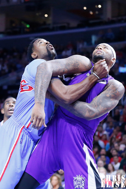 02 November 2014: Sacramento Kings center DeMarcus Cousins (15) vies for the rebound with Los Angeles Clippers center DeAndre Jordan (6) during the Sacramento Kings 98-92 victory over the Los Angeles Clippers, at the Staples Center, Los Angeles, California, USA.
