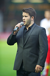 LLANELLI, WALES - Wednesday, August 15, 2012: xxxx sings the Welsh national anthem before Wales' international friendly match against Bosnia-Herzegovina at Parc y Scarlets. (Pic by David Rawcliffe/Propaganda)