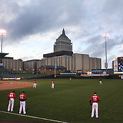 Players stand for the National Anthem before the Rochester Red Wings V The Scranton/Wilkes-Barre RailRiders, Minor League ball game at Frontier Field, Rochester, New York State. USA. 16th April 2013. Photo Tim Clayton
