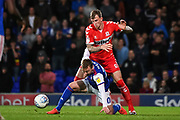 Middlesbrough Defender Aden Flint (24) and Ipswich Town Forward Freddie Sears (20) battle for the ball during the EFL Sky Bet Championship match between Ipswich Town and Middlesbrough at Portman Road, Ipswich, England on 2 October 2018.