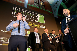 LONDON, ENGLAND - Tuesday, December 8, 2015: The Anfield Wrap's Neil Atkinson gives an acceptance speech after winning the Podcast of the Year Award at the Football Supporters' Federation Awards Dinner 2015 at the St. Pancras Renaissance Hotel. (Pic by Tim Goode/Press Association)