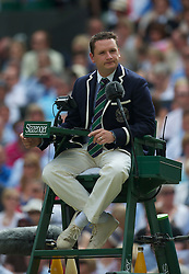 LONDON, ENGLAND - Sunday, July 4th, 2010: Umpire Jake Garner during the Gentlemen's Singles Final match on day thirteen of the Wimbledon Lawn Tennis Championships at the All England Lawn Tennis and Croquet Club. (Pic by David Rawcliffe/Propaganda)