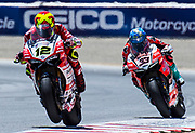 Jun 23  2018  Monterey, CA, U.S.A   # 12 Xavi Fores and # 33 Marco Melandri  coming out of turn 4 during the Motul FIM World Superbike Race # 1 at Weathertech Raceway Laguna Seca  Monterey, CA  Thurman James / CSM