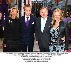 Left to right, LADY BAMFORD, JO BAMFORD, SIR ANTHONY BAMFORD and MISS ALICE BAMFORD members of the JCB digger family, at a party in London on 18th May 2004.PUG 351