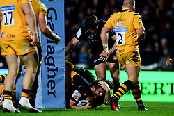 Alec Hepburn of Exeter Chiefs scores a try - Mandatory by-line: Ryan Hiscott/JMP - 30/11/2019 - RUGBY - Sandy Park - Exeter, England - Exeter Chiefs v Wasps - Gallagher Premiership Rugby