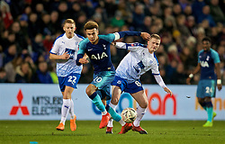 BIRKENHEAD, ENGLAND - Friday, January 4, 2019: Tranmere Rovers' Harvey Gilmour (L), Jay Harris (R) and Tottenham Hotspur's captain Dele Alli (C) during the FA Cup 3rd Round match between Tranmere Rovers FC and Tottenham Hotspur FC at Prenton Park. (Pic by David Rawcliffe/Propaganda)
