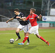 Dundee new boy Alex Harris runs at Ross County captain Richard Brittain - Dundee v Ross County, SPFL Premiership at Dens Park<br /> <br />  - &copy; David Young - www.davidyoungphoto.co.uk - email: davidyoungphoto@gmail.com