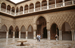 View of courtyard in the Alcazar; Seville,
