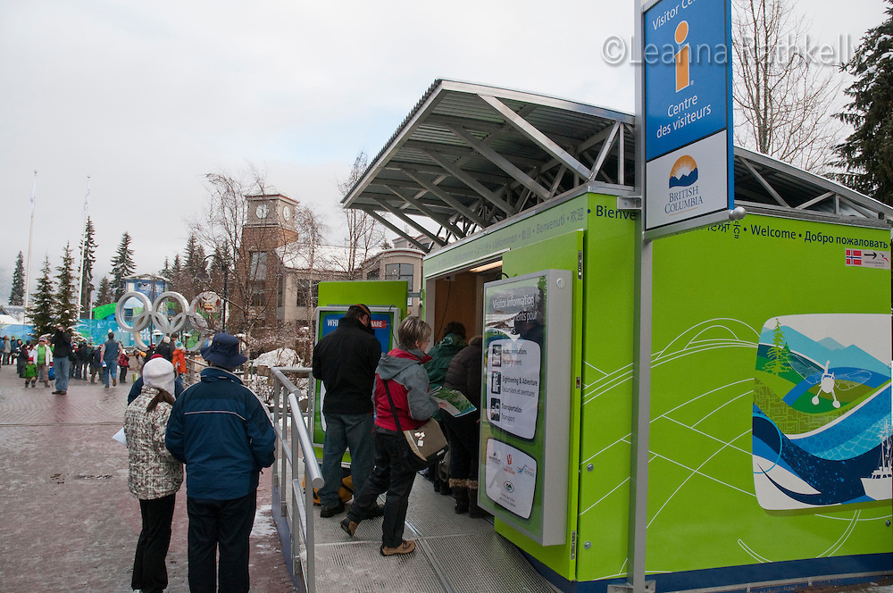 Info Kiosks with email allow visitors to send a note and photo home during the 2010 Olympic Winter Games in Whistler, BC Canada.
