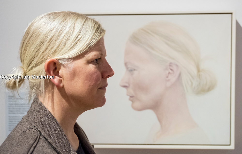 Edinburgh, Scotland, United Kingdom. 14 December, 2017. <br /> <br /> Artist Angela Repping  and her painting Profile at The BP Portrait Award 2017 which  opens at the Scottish National Portrait Gallery on 16 December 2017.