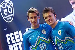Valter Birsa and Zlatko Dedic during presentation of new Nike jerseys of Slovenian Nathional Football Team, on February 28, 2012 in Grand Hotel Metropol, Portoroz, Slovenia.  (Photo By Vid Ponikvar / Sportida.com)