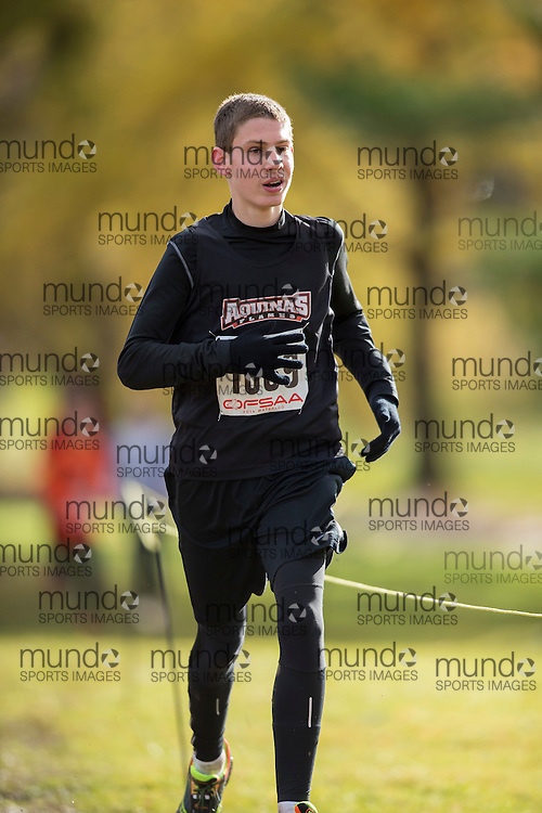 Michael Hollis of &quot;St. Thomas Aquinas C.S.S., London&quot; competes at the OFSAA Cross Country Championships in Waterloo Ontario, Saturday, November 1, 2014.<br /> Mundo Sport Images/ Geoff Robins