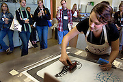 """Artist Johanna Paas makes a print during the 2006 Mid America Print Council conference """"Forging Connections"""" at Ohio University on Friday, 9/22/06. The conference runs from September 20-23. Around 700 printmakers, students, curators and other art professionals are expected to attend the biennial event."""