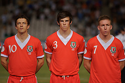 Nicosia, Cyprus - Saturday, October 13, 2007: Wales' Simon Davies, Gareth Bale and Freddy Eastwood line-up to face Cyprus during the Group D UEFA Euro 2008 Qualifying match at the New GSP Stadium in Nicosia. (Photo by David Rawcliffe/Propaganda)