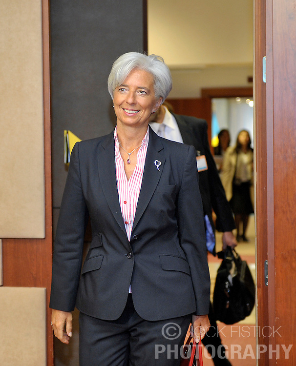 Christine Lagarde, France's finance minister, arrives for Eurogroup, the meeting of finance ministers for the Euro zone countries, in Brussels, Belgium, on Wednesday, September 2, 2009. (Photo © Jock Fistick)